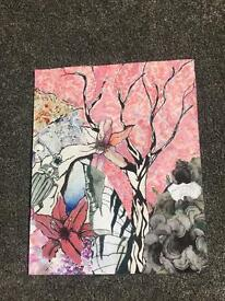 Blossom tree and Lilly painting / drawring print