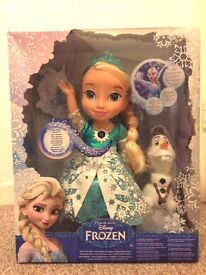 Brand New Frozen Snow Glow Singing Elsa Doll wit His Olaf