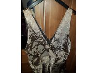 LADIES PRINCIPLES EVENING DRESS IN TAUPE AND GOLD ASIAN FLORAL DESIGN SIZE 16/18 £20 O0 WORN ONCE