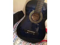 Beautifully coloured hand crafted classical Sierra guitar with shoulder strap and bag