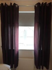 Purple faux silk eyelet curtains
