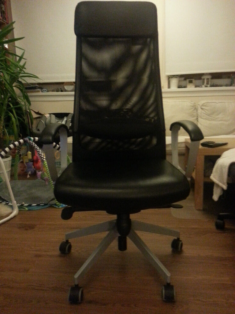 Office / Gaming - Leather/Mesh, Built-in Lumbar Support, Swivel Chair - (IKEA - MARKUS)