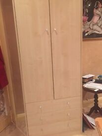 Single Wardrobe with 3 drawers (light oak effect) REDUCED