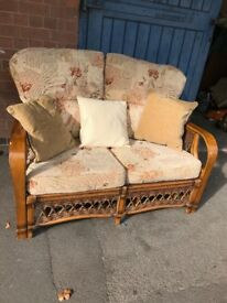 Cane Wicker Conservatory Suite Two Seater Sofa .