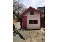 "Pink 2 story playhouse 7"" x 5"""
