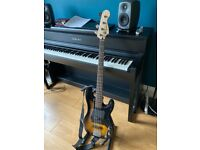 Squier Affinity PJ Bass in two tone sunburst with amp. ideal for beginner. Accessories included