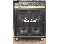 "Marshall 100w Bass Combo, 4 x10"" speakers, valve/soild-state pre-amp"