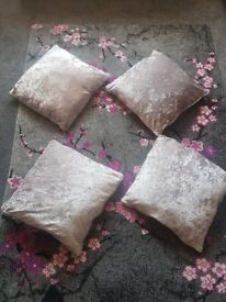 4 silver crushed velver style cushions