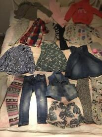Girls clothing large bundle 18 items Next and H&M kids dresses tops trousers etc lot 1