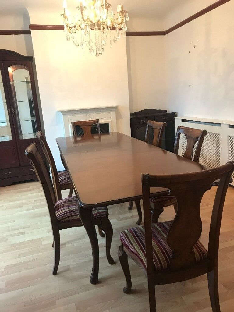 UK-made Mahogany Extending Dining Table With 6 Custom ...