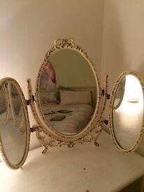 Dressing table mirror, three way, Louis style, shabby chic, cream