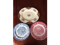 Two decorative plates & meat plate