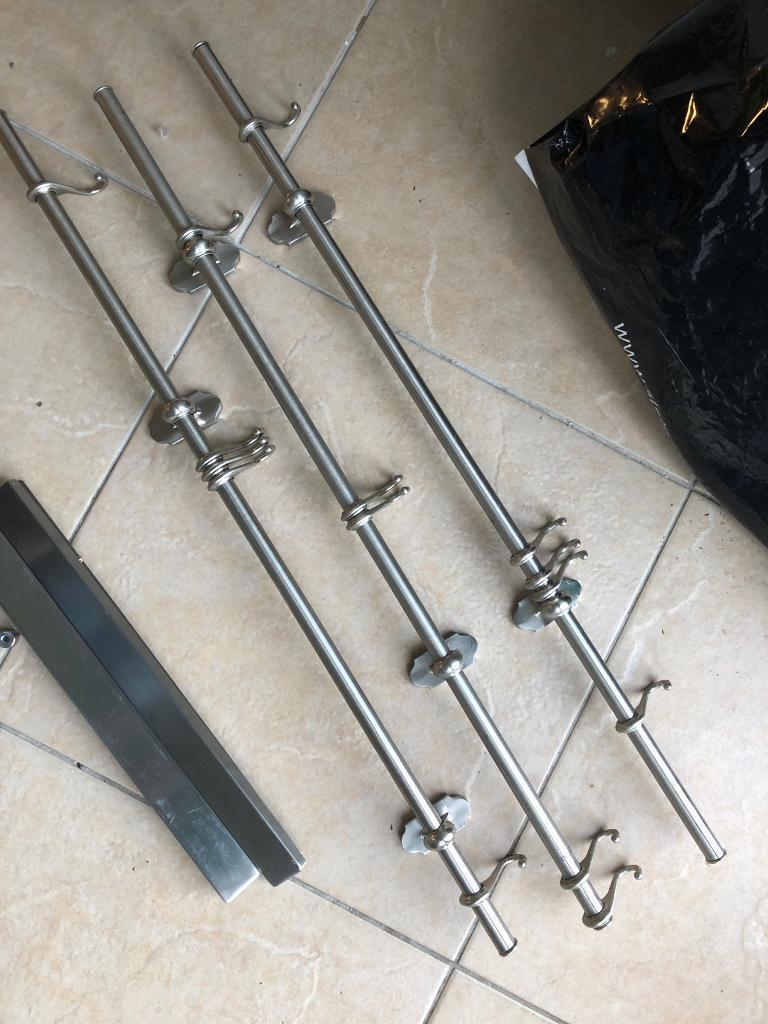 Satin chrome kitchen hanging rails with 5 hooks per rail | in Southside,  Glasgow | Gumtree