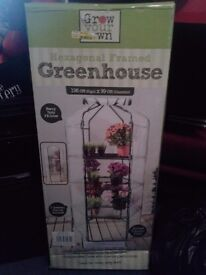 """New Hexagonal Greenhouse with shelves and cover- ideal Christmas present 196cm(6'5"""")x99cm(3'2"""")"""