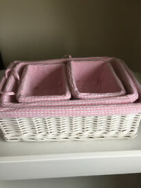 White wicker baskets for changing table