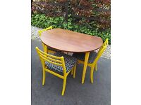 Drop Leaf Space Saving Chic Wood Table and 3 Newly Upholstered Yellow Chairs