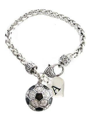 Custom Crystal Soccer Ball Silver Bracelet Jewelry Choose Your Initial All 26 (Customized Soccer Balls)