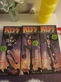 Kiss collectable models (Paul Stanley, Ace Frehley, Peter Criss)