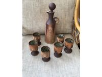 Pottery Wine Decanter and Six Goblets