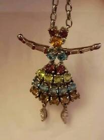 Beautiful Bejewelled Dancing Lady Pendant and Chain