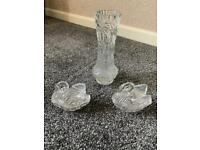Crystal glass vase and swans job lot bargain £6