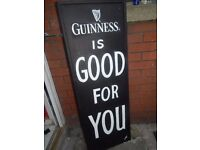 Vintage old ANTIQUE GUINNESS WOODEN SIGN Advertising MAN CAVE DRINKS BAR PUB Garage LARGE