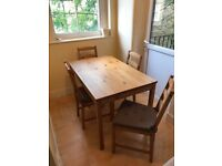 Table and 4 chairs with cushions from IKEA (JOKKMOKK)