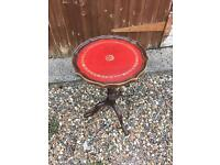 Antique vintage occasional table leather? Red dark wood