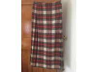Ladies long tartan kilt size 12-14 pure wool