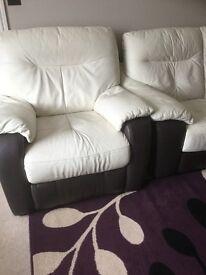 Leather corner sofa, chairs and storage.