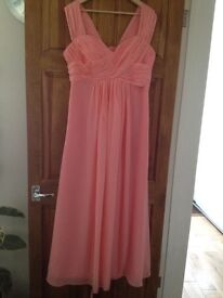 Beautiful Coral Pink Bridesmaid Dress with corset (adjustable) back size 18
