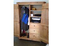 Solid pine wardrobe/cupboard