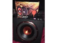 900w edge sub with in built amp + 300w 6x9 speakers