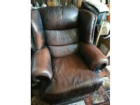 3 Seater Leather Sofa and 2 armchairs