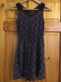 New Look Navy and Purple Playsuit Size 8