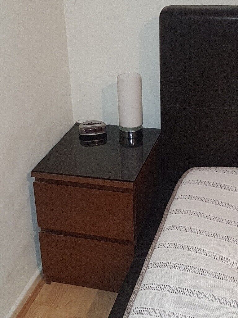 Ikea - Bed Side Table - Glass Top - Superb Condition - Matching Chest of Draws also Available