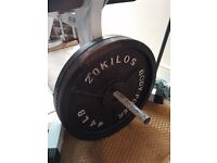 bench bar and 2x20kg weight plates