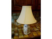 Table lamp with cream shade, Ainsley pottery, Cottage Garden pattern.
