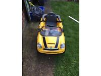 Mini coupe electric car yellow no charger working