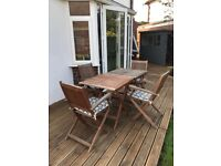 Garden furniture set 4 chairs, 2 tables and 4 cushions