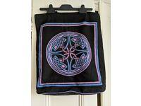 Purple & Blue Black Canvas Celtic Knot Shopping Carry All Bag- BNWOT