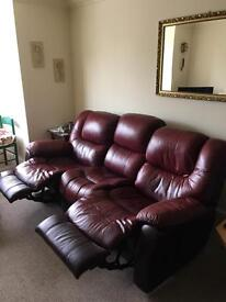 Genuine Quality Leather 3 Seater & Chair Recliners