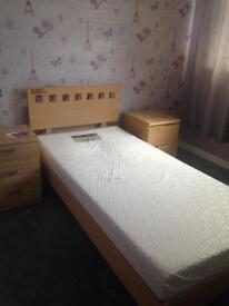 Single bed frame in beech wood