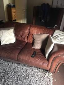 Real leather solid sofas