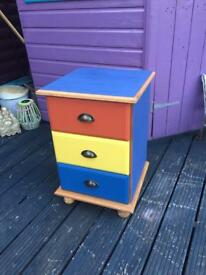 3 drawer bedside table cupboard
