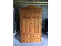 Double pine wardrobe with 4 drawers