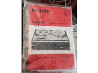 Philips reel to reel vintage tape recorder with brochure
