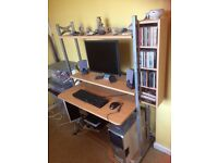 Wood and metal computer desk in excellent condition.
