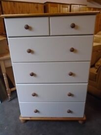 Large chest of drawers, cream and pine