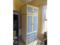 Blue, White & Yellow, Solid Pine Double Wardrobe with 3 Drawers & Top Storage